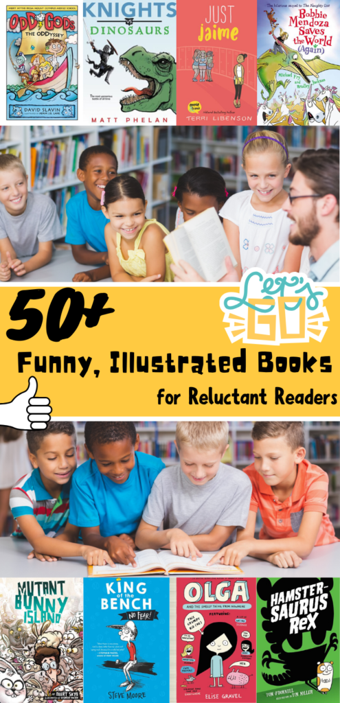 50+ funny, illustrated books for reluctant readers