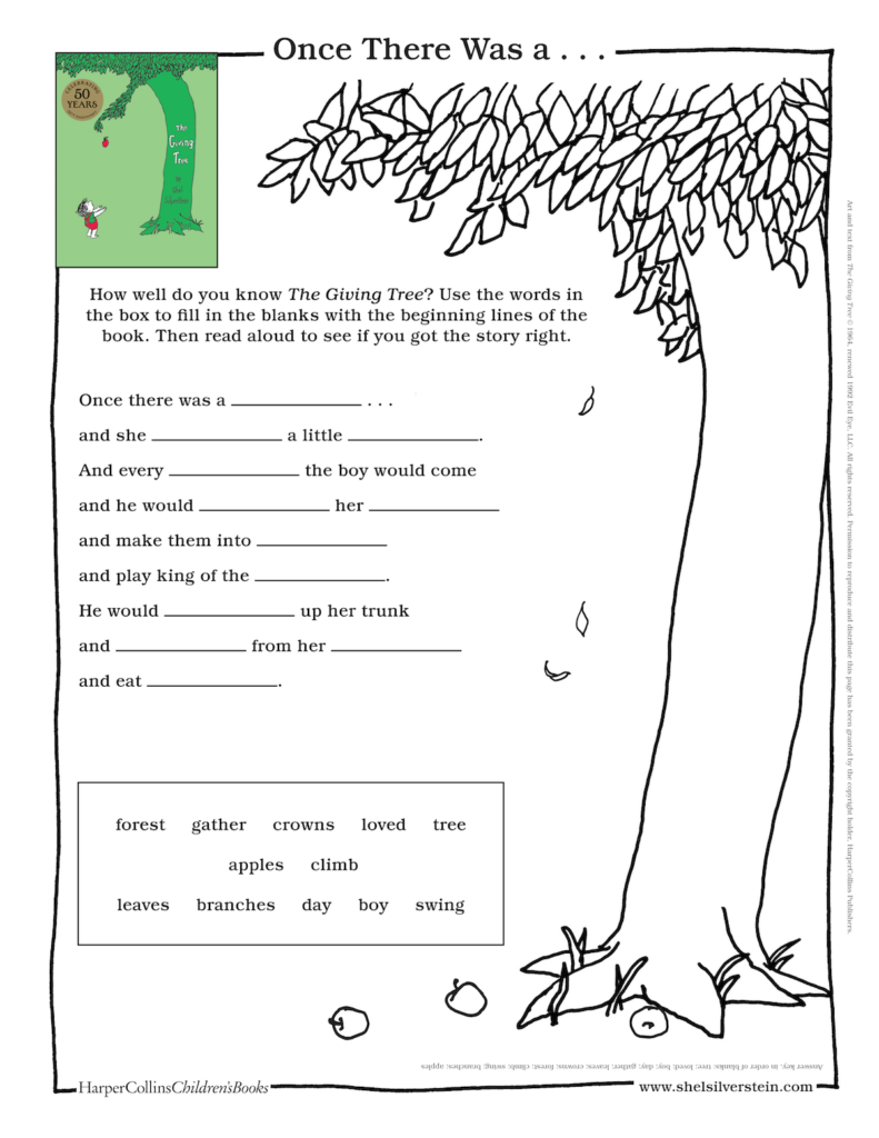 The Giving Tree Fill in the Blanks
