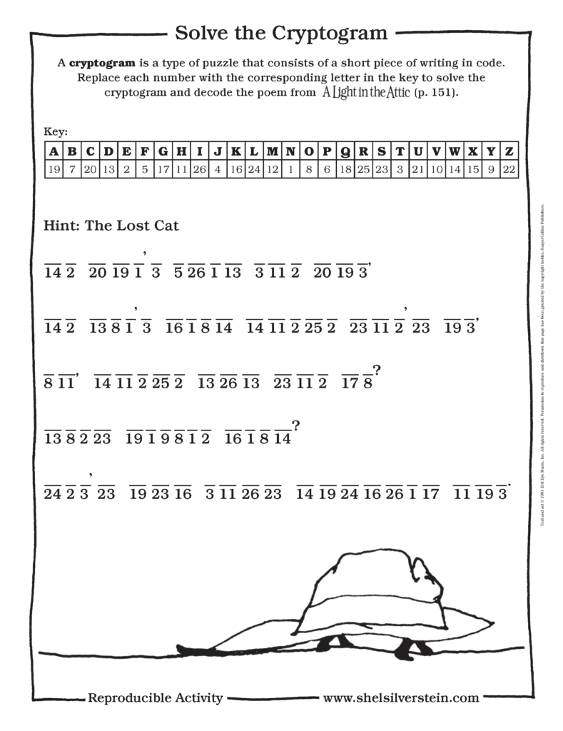 A Light in the Attic Cryptogram Game