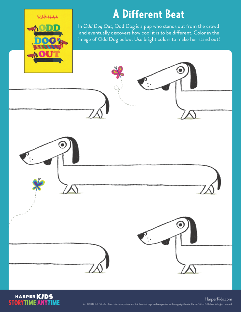 odd dog out coloring page