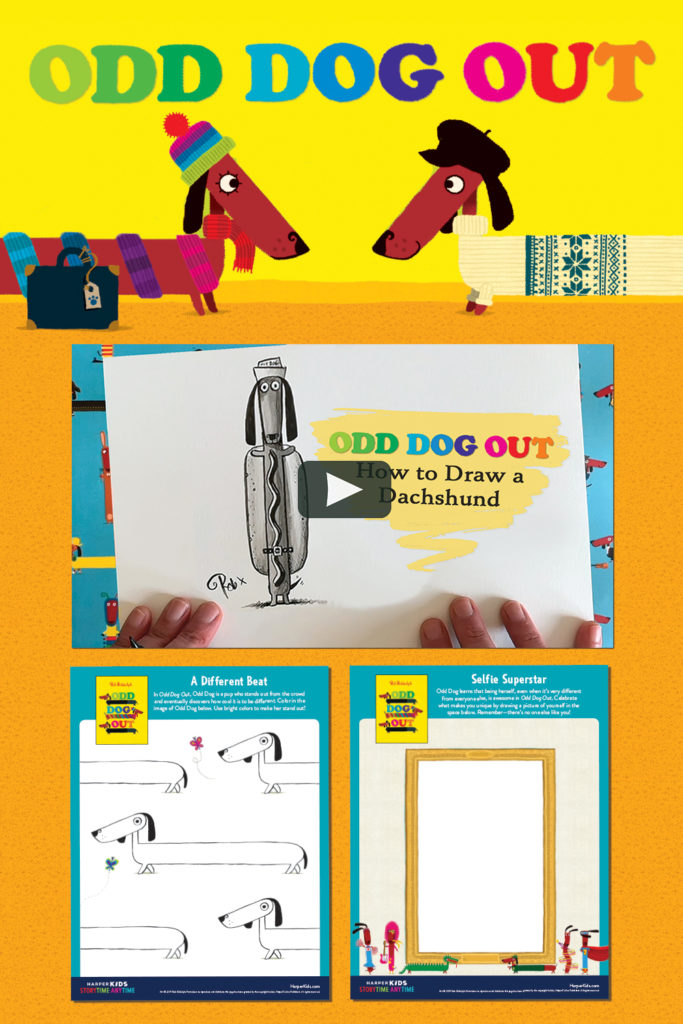 How to draw a wiener dog video and activities based on ODD DOG by Rob Biddulph