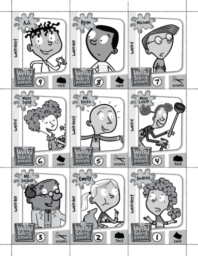 My Weird School trading cards and game instructions