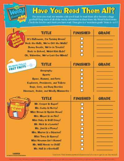 Full My Weird School Series Reading Checklist